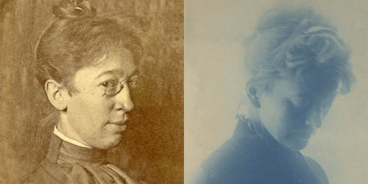 A collage featuring pictures of two women. Each has their hair pulled up and a high neck collar to their blouse, revealing the historic nature of the images. The left image is a sketch, while the right is a cyanotype (a blue photograph).