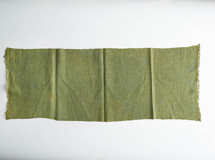 An unfolded piece of green fabric.