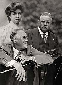 Montage of Teddy, Eleanor, and Franklin Roosevelt