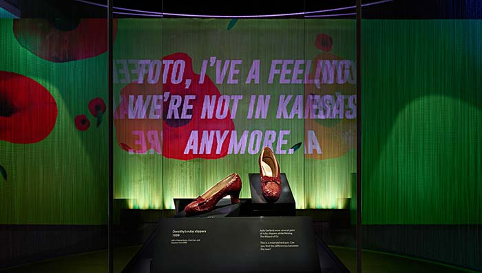 Ruby slippers on display at the museum