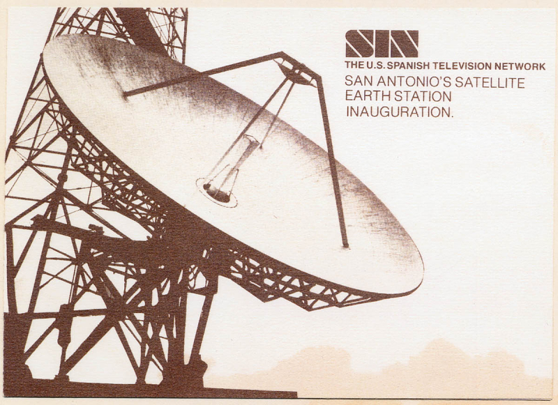 Postcard with photo of a satellite dish
