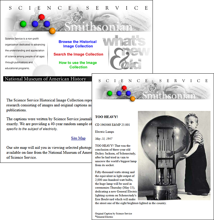 Screenshot of the Science Services Historical Images website