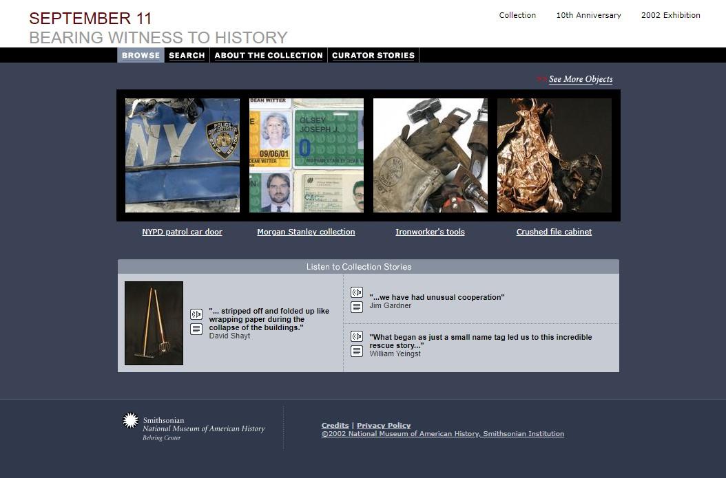 Screenshot of the former September 11 website