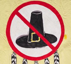 detail from the Day of Mourning Defense Committee protest banner