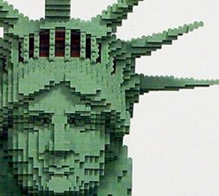 detail of the LEGO Statue of Liberty in the 2 West Preview display