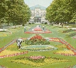 Detail of postcard depicting the Sunken Gardens in Philadelphia's Fairmount Park