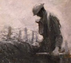 """detail from """"On the Wire"""" by Harvey Thomas Dunn, France, 1918"""