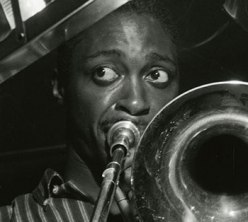 """Silver gelatin photographic print by Francis Wolff.  """"The Opener,"""" Curtis Fuller at recording session with Mobley, Timmons, Chambers, Taylor, 16 June 1957. Francis Wolff Jazz Photoprints. (AC1238-0000010)"""