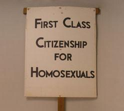 """Kameny protest sign: """"First Class Citizenship for Homosexuals"""""""