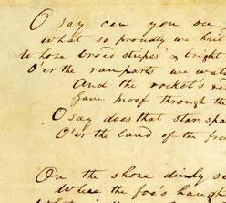 Francis Scott Key's original manuscript of the Star-Spangled Banner (Courtesy of The Maryland Historical Society)