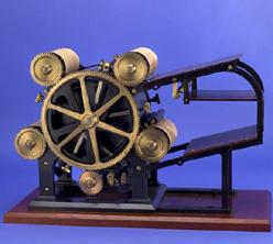 """Hoe was celebrated for his cylinder press and type-revolving press inventions. This improvement in """"Rotary Printing Presses"""" included type forms which attached to the printing cylinder."""