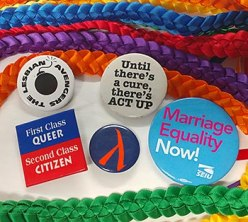 Protest buttons and ribbons
