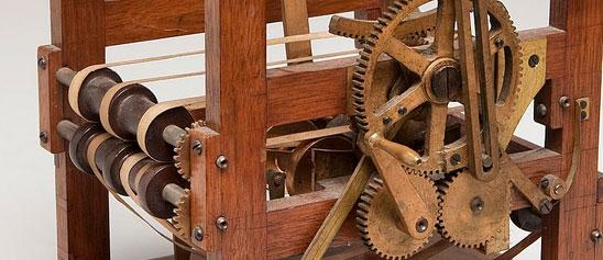 Close up of a wooden patent model