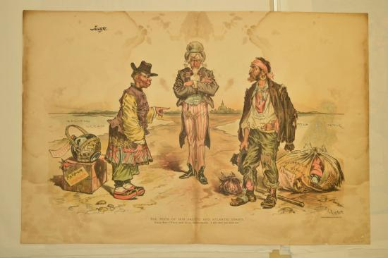 Image of political cartoon with Uncle Sam and immigrants
