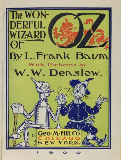Scan of inside cover of The Wonderful Wizard of Oz, 1900, features drawings of the tin woodsman and scarecrow holding hands.