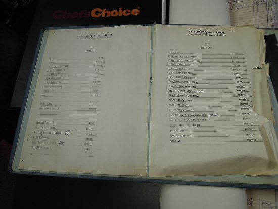"A ledger lays open on a table. Two pieces of paper lay side to side and are taped down. They are old and one is ripped and discolored. There are lists on both with items and numbers to the right of them. The tops of the pages say ""Edgecraft Corporation"""