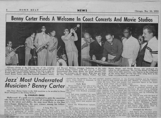 "Headline ""Benny Carter Finds A Welcome In Coast Concerts and Movie Studios"""