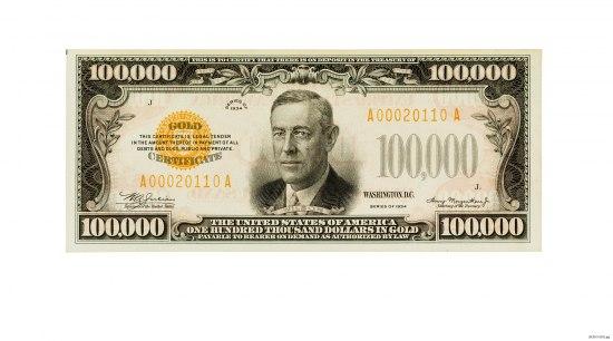 Bill with portrait of President Woodrow Wilson