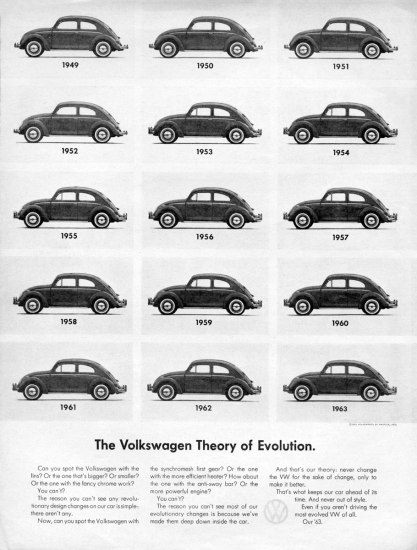 "Scan of 1960s Volkswagen advertisements. The ad features a grid of black and white photos of the VW Beetle from 1949 to 1963 in order to highlight how little the Beetle's design changed during that period. The ad is titled ""The Volkswagen Theory of Evolution."""