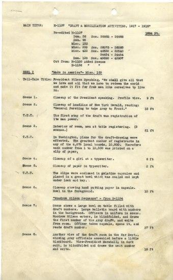 Document written on typewriter. It describes each scene in a film. It begins with President Wilson speaking.