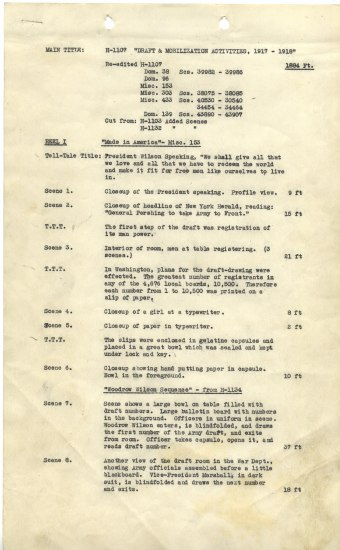 Document written on typewriter. It describes each scene in a film. It begins with President Wilson speaking.