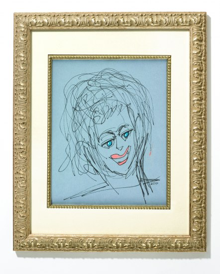 "A portrait in a gold frame with a cream matting. The portrait is on a robins egg blue background. Coral smiling slips and bright turquoise eyes are surrounded by vigorous brush strokes that make a loose but representational portrait. ""diller"" is inscribed by the portrait neck"