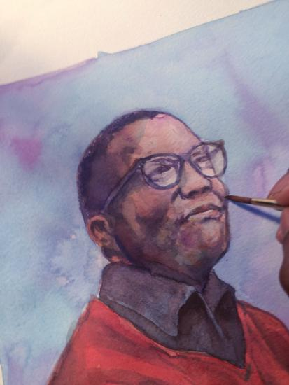 Watercolor painting of African American man being completed