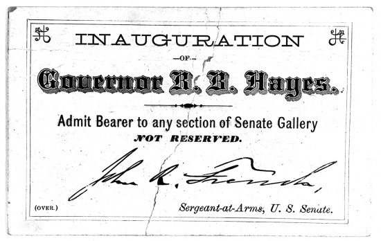 "A white ticket for the inauguration of ""Governor Hayes"""