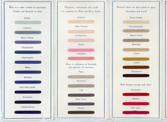 "Brochure with three panels. Each color has a name. ""Blue is a color symbol of patriotism, loyalty and devotion to duty."""