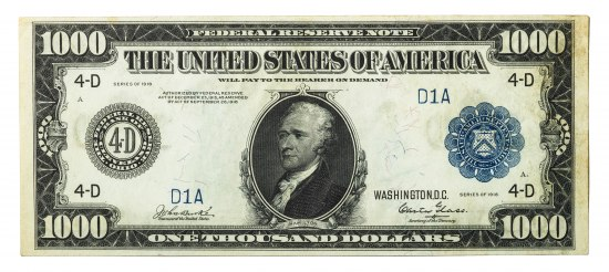 """Federal Reserve Note"" in text at top of rectangular paper bill. Portrait of Hamilton in center, in semi-profile. A seal on left and right."