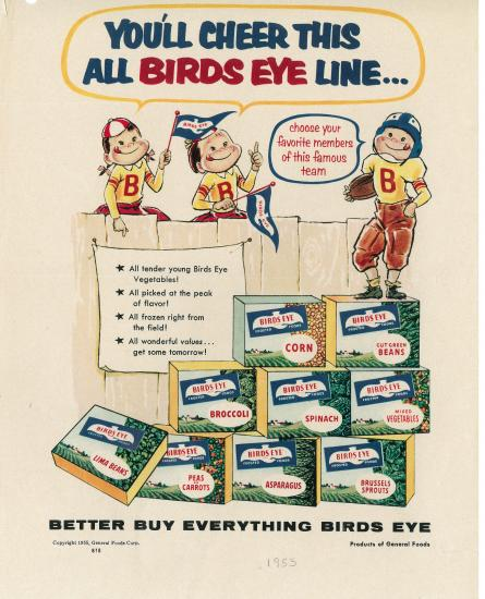 1955 Birds Eye frozen food advertisement