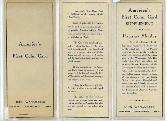 "Photo of brochure with text: ""America's First Color Card"""