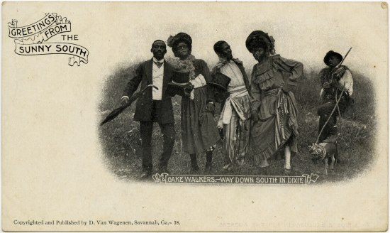 "Postcard with text ""Greetings from the Sunny South."" Five African American people in interesting dress--fancy suit, hats, umbrella, frilly dress. One has a fiddle and a dog. Text: ""Cake Walkers. Way down south in Dixie."""