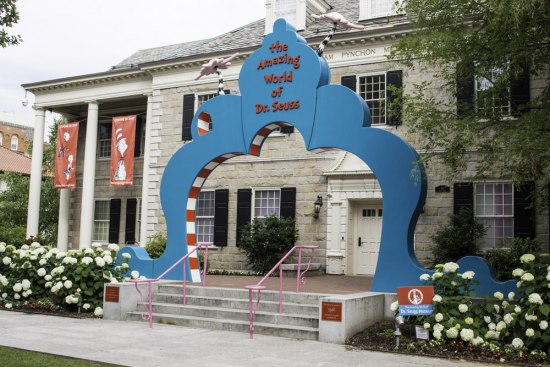"""Entrance to """"The Amazing World of Dr. Seuss,"""" featuring a large, whimsical arch"""