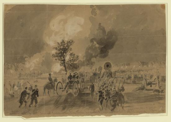 Drawing on olive-colored paper. Dead and injured horses lay on ground. Some stand. Gun, carriage, a few men visible. White smears may indicate clouds, smoke, explosions.