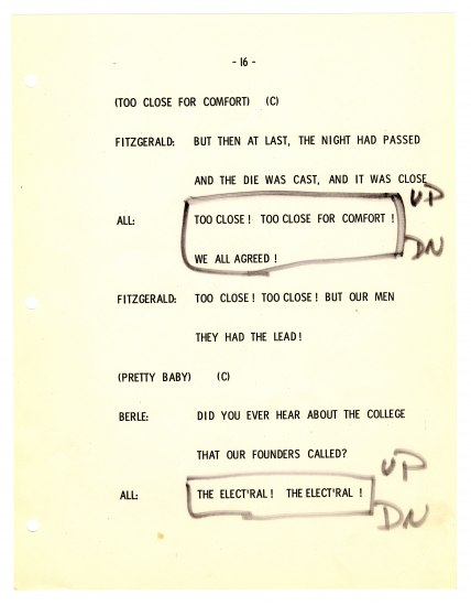 A page from a script from the gala that shows lines for Fitzgerald and others to say or sing