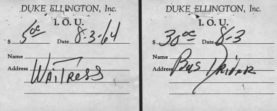 """Printed form with handwritten sections filled in. """"Ellington, Inc. I.O.U."""""""