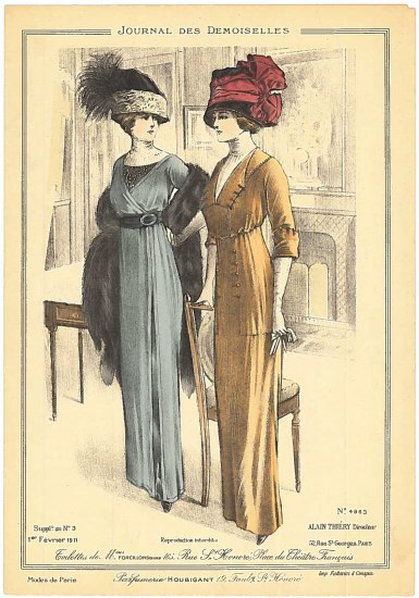 Color illustration. Two tall, thin women stand beside each other in a drawing room. One wears a giant black hat with feathers and lace. The other wears a dark colored hat with a large maroon ribbon bulkily tied around it. Both wear elegant gowns and gloves. One has a fur stole/wrap.