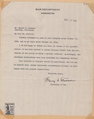 "Photo of letter with heading ""War Department"""