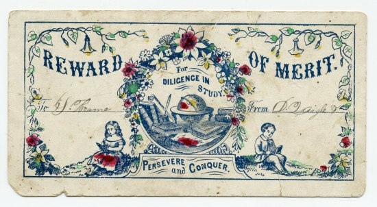 Rectangular piece of paper featuring flowery garlands, a vignette of school supplies including a globe, and two children reading books.