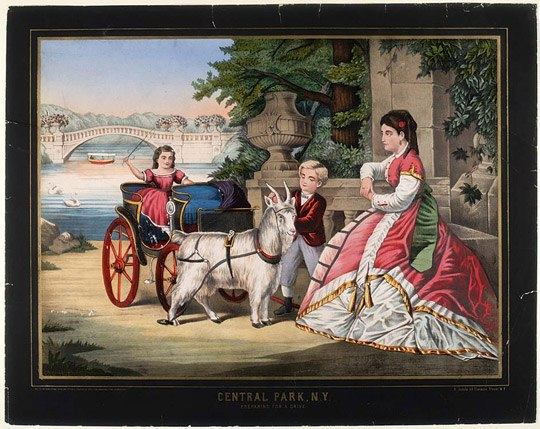 A painting of several picture sitting by a river. There is a bridge in the background and the people appear to be rich because of their clothes and their goat-drawn mini chariot.