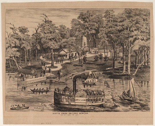 A tan work of art with black illustration of a river with a boat by a river bank with trees and throngs of people