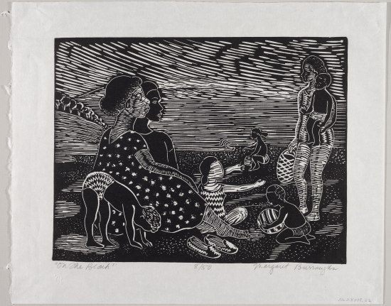 A print picture depicting several women sitting down at the beach with several children playing around them. They look at a woman wearing a swimsuit holding a child and a basket