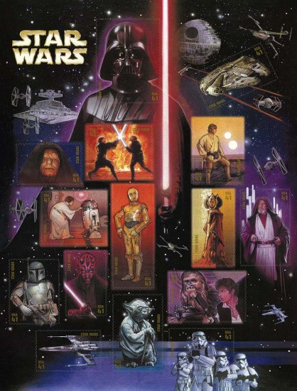 Sheet of stamps with images from Star Wars. A Darth Vader stamp hovers above the entire scene, red lightsaber weapon in hand.