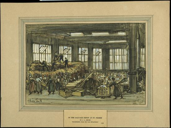 Illustration of people working together. A charcoal and watercolor sketch on paper of a salvage depot at St. Pierre, France. Below a backdrop of five large windows, men and women are working in a large open space. The women are mostly engaged in carrying and sorting material. A group of men are on top of a pile of salvage on the left side of the drawing.