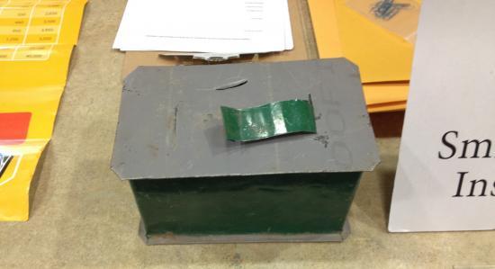 Grey box on table