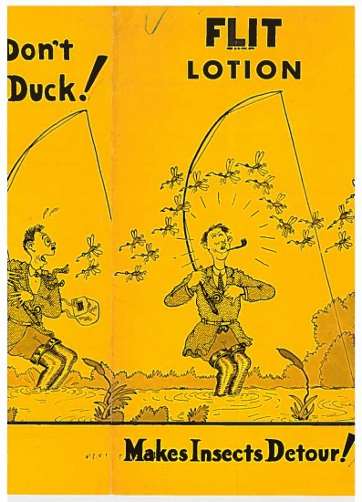 Cover of yellow booklet shows an illustration of a man happily fishing. In the next image, he is frightened by a large group of insects.