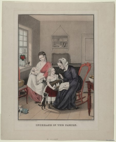 Lithograph depicting two women, a child and an infant interacting in a sitting room