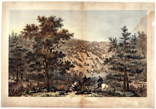 "An illustration that calls itself ""The Army of the Potomac."" It depicts streams of men with horses and covered wagons riding and descending into a valley. There is movement of men all around the work, which is set somewhere with a plain and tall trees. What appear to be Union soldiers sit or lie around the foreground and officers sit astride horses."