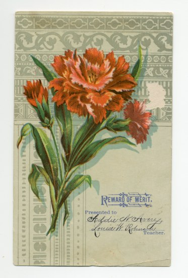 Rectangular document with a red flower with green leaves.